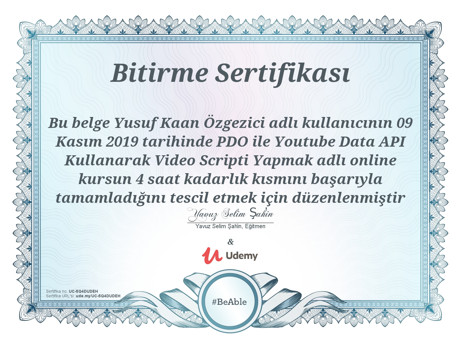 PDO Youtube Data Api Video Script Sertifikası